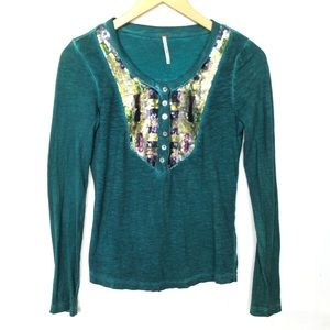 Free People Sequin Ling sleeves Thermal Top XS